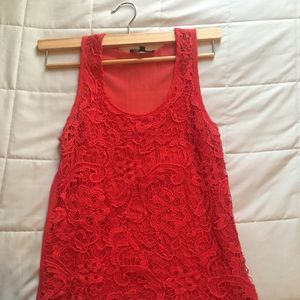 Love Culture Red Lace Sleeveless Top size S